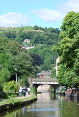 Valley bottom to hill top .. (Halliwell_Michael ## More off than on this week #) Tags: calderdale rochdalecanal westyorkshire nikond40x 2016 hebdenbridge towpath trees reflections reservoirs perspective hills hillside bridge bridges barge barges landscapes pennines penninehills reflectionslovers