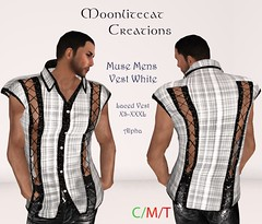 Muse Mens Vest White Ad Pic (moonlitecat) Tags: hunt your inner slut moonlitecat creation mesh slink belleze maitreya fimesh rigged high heel collar gacha spikes leather punk skirt haltertop halter top laced vest mens men women womens moon moonlite hudded texture change
