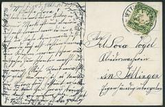 """Archiv H303 """"Soldatenliebe"""" Postkarte (back) vom 18. Mrz 1901 (Hans-Michael Tappen) Tags: archivhansmichaeltappen postkarte poststempel briefmarke stamps bayern jettingen handschrift text 1900er 1900s 1901 scheppach inhalt"""