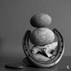 267/366 - Must Be Luck? (sdgiere) Tags: horseshoe rocks pile manufactured widget noidea blackandwhite square