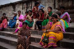 Colorful locals (Scalino) Tags: india karnataka tourism belur halebid halebeed halebeedu hoysala temple carved sculpture local tourists indian tourist woman group women smile smiling hindu dark