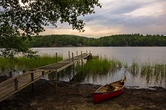 Late Afternoon in September (Bud in Wells, Maine) Tags: nortonpond lincolnville maine cloudy summer canoe dock vacationland