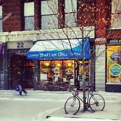 Snowy Square (Corey Templeton) Tags: city winter snow bike bicycle square portland downtown maine newengland squareformat portlandmaine february blizzard amaro monumentsquare congressstreet 2013 iphoneography instagramapp uploaded:by=instagram