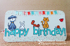 Birthday Pets (christiana.reuling) Tags: birthday dog rabbit bunny birds cat cards squirrel kitty snail card stamping banners papercrafts inking washi cardmaking papercrafting copicmarkers washitape lawnfawn coloringcopies