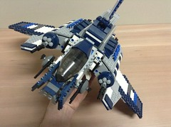 Custom blue jedi attack shuttle (Johnny-boi) Tags: star air attack assault shuttle jedi wars custom clone