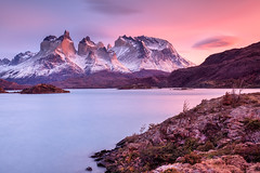 Patagonia Sunrise (Helminadia Ranford(New York)) Tags: chile travel patagonia lake nature colors beautiful clouds sunrise landscape photography nationalpark torresdelpaine lenticular helminadia