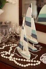 Kathy's baby Shower (Euadanstover) Tags: blue sailboat glasses pretty florida antique details pearls southern lovely decor quaint babyshower nauticaltheme