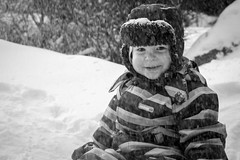 Winter :) (Ilkka Hakamäki) Tags: winter boy bw white black cold smile 35mm finland kid nikon child son nikkor talvi ilmajoki 18g d3100