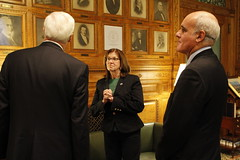 Senate President Therese Murray pointing out historic features of her office to Ambassador Vale de Almeida and Ireland's Consul-General Michael Lonergan