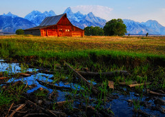 Soft Light at the Barn (Jeff Clow) Tags: bravo grandtetonnationalpark mormonrow jacksonholewyoming moultonbarn thomasamoultonbarn thomasmoultonbarn tpslandscape