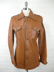 "1970s Vintage Gent's Tan Leather Blazer • <a style=""font-size:0.8em;"" href=""http://www.flickr.com/photos/92035948@N03/8550671975/"" target=""_blank"">View on Flickr</a>"