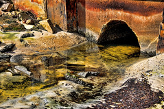 Flowing Reflections (DigitalLUX) Tags: red sea brown abstract detalle detail art beach water colors yellow closeup reflections interesting sand nikon rocks colorful warm arte florida details amarillo detalles rocas reflejos artisticphotography colorido
