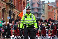 St Patrick's Day Parade - Leeds (Lee Collings Photography) Tags: people kilt leeds police parade marching bagpipes kilts stpatricksday westyorkshire policeman 999 emergencyservices emergencyservice westyorkshirepolice leedscitycentre westyorkshireemergencyservices