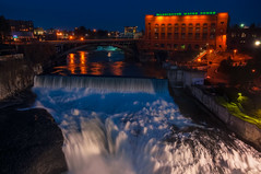 Blue Hour Water Power (Gabriel Tompkins) Tags: longexposure bridge blue sky usa motion blur building water night river lights washington twilight nikon spokane dusk clear monroe pacificnorthwest bluehour nikkor washingtonstate pnw wwp gloaming 18105 d90 2013 washingtonwaterpower inlandnorthwest 18105mm nikond90 18105mmf3556gvr tronam gabrieltompkins