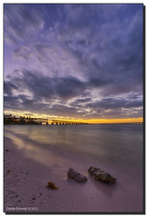 Night Falls (Fraggle Red) Tags: ocean statepark blue sunset orange beach water yellow night clouds evening twilight sand rocks glow purple florida dusk railroadbridge hdr floridakeys aftersunset bahiahondastatepark 7exp flaglerrailroad monroeco bahiahondakey canonef1635mmf28liiusm dphdr