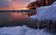 The First Spring Day (janilindstrom) Tags: sunset red sea snow ice finland spring melting burning flaming lindsjan