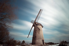 Wind       Power.... (Chrisconphoto) Tags: uk longexposure sky windmill liverpool movement le wirral merseyside bidston weldingglass bidstonwindmill