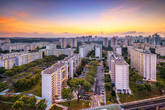Clementi Dawn (Scintt) Tags: city morning trees light sky urban home public skyline architecture modern clouds sunrise buildings dawn early high singapore apartments glow cityscape estate natural towers structure flats housing exploration hdb clementi scintillation scintt