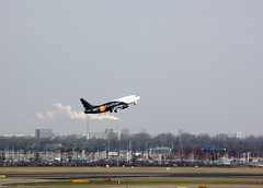 G-POWC/Titan airways take off (dav_min) Tags: holiday holland netherlands amsterdam night canon airport day terminal airbus boeing nl airways klm titan schipol takeoff ams charter hire 2013 skyteam gpowc amsterdam2013