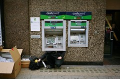 Banking crisis (deepstoat) Tags: street colour london film 35mm behind atm contaxt3 kodakportra400 latecapitalism
