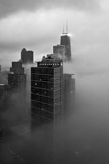 Shrouded (ChellieL) Tags: city sky chicago hancockbuilding fog skyscraper buildings moody challengegamewinner
