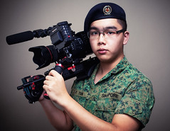 Combat Camera (headshotzx) Tags: camera soldier army video singapore photographer sony combat beret forces cameraman armed saf videographer nex fs700