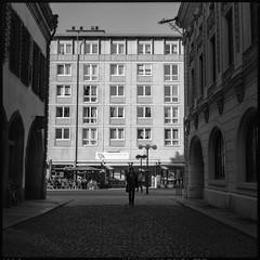 . (Martin Ritter) Tags: street shadow portrait people blackandwhite woman analog mediumformat candid strangers streetphotography leipzig geometrical pentaconsix