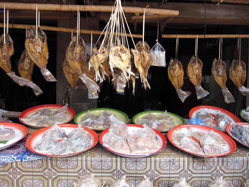 Dried and fermented fish on sale in a roadside stall  in Laos. Photo by Jharendu Pant, 2010.