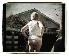 Wife looking for birds... (iEagle2) Tags: woman wife ehefrau female frau femme iphone iphone4 summer underwear