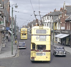 Bournemouth Trolleybus 280, 1968 (Lady Wulfrun) Tags: bournemouth trolleybus 280 ylj280 may 1968 bct boom trolley yellow electric wires overhead runningwires siemens streetlight tractionpole 22 ford corsair rover p5 roverp5 coupe cluadestone highstreet shops 1960s trolleybuses