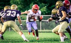 High school football: kickoff return (rikki480) Tags: kickoff return carry ball carrier run play highschool football game bishop dwenger wayne fortwayne indiana zollner field stadium