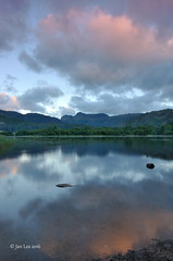 New Day Calling (jeanette_lea) Tags: elterwater the lake district cumbria sunrise dawn reflections clouds sky stones water colours trees