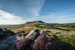 Higger Tor, From Carl Wark (johngregory250666) Tags: outside lane peak district uk derbyshire rural nature british countryside camera lens green yellow orange stone nikon nikkor hiking walking lines clouds sky blue moss lichen out brook glow grass imagesofengland amazing sunlight water light sun outdoor grassland field landscape hill trees plant serene moors ridge great national park mountain moor moorland dale new mountainside august d5200 rock formation rays winhill edge heather blooming flower flowerbed tor carlwark higger world people photoadd