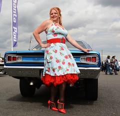 Ange L'Que_8772 (Fast an' Bulbous) Tags: mopar muscle car vehicle automobile fast speed power girl woman milf mature stockings high heels stilettos santa pod england nikon d7100 gimp nylons