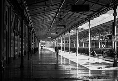 Life is full of surprises / Keep it all in the frame (zgr Grgey) Tags: 2016 50mm bw d750 nikon sirkeci architecture candid lines silhouettes street trainstation istanbul repetition