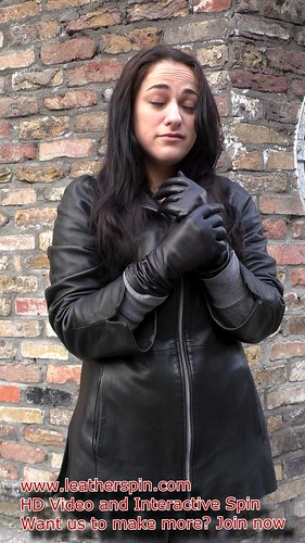 exclusive range on feet shots of super quality Girl in leather jacket and leather gloves - a photo on ...