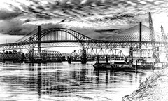 3 Bridges (beelzebub2011) Tags: canada britishcolumbia newwestminster bw monochrome bridges fraserriver hdr highdynamicresolution