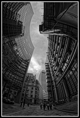 Lloyd's Building looking upwards (jim_2wilson) Tags: rokinon8mmf35 sonya77 jimwilson london wideangle fisheye lloydsbuilding bw dxoopticspro