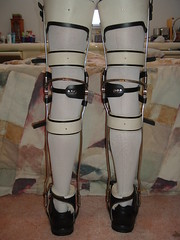 Full Rear Band Double Thigh Buckled KAFOs Rear View (KAFOmaker) Tags: leather metal fetish legs braces leg bondage strap locks cuff buckle brace straps cuffs bail buckles bracing orthopedics orthopedic cuffed strapped buckling braced strapping fullrearbanddoublethighbuckledkafos