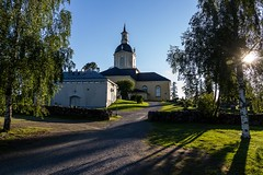 "Alatornio Church in Tornio Northern Finland on 654948N 240926O (UNESCO WHS, but not the church, its a scientific WHS part of ""The Struve Geodetic Arc"") (Maria_Globetrotter) Tags: world travel trees sunset sun tree heritage tourism architecture canon suomi finland de finnland day lappland july unesco clear lapland birch bjrk finnish trd kirkko 2012 finlandia weltkulturerbe whs mondial patrimoine  finlande welterbe tr tornio torne finlandiya lhumanit 550d 1585 finska werelderfgoed   vrldsarv werelderfgoedlijst verdensarven alatornio mariaglobetrotter"