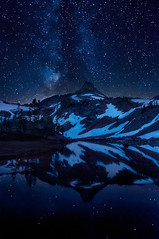 Out of the Blue, Into the Black (Michael Bollino) Tags: summer mountain lake snow mountains reflection water night stars washington high peak galaxy cascades wilderness tarn milkyway