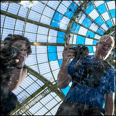 Canon and Nikon, happy shooting together (Maerten Prins) Tags: blue roof paris france reflection glass colors lines k canon mirror nikon colours circles daniel curves grand valentine m palais shooting frankrijk parijs buren selfie myfunnyvalentine monumenta