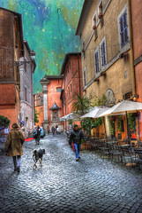 Una Notte a Roma (Cat Girl 007) Tags: street old city sky italy house rome color roma building texture stone architecture facade ancient colorful europe european cityscape lifestyle structure historic neighborhood sidewalk photograph housing destination romantic charming seating hdr cafes explored italianculture touristresort memoriesbook unanottearoma clivesax magicunicornverybest starbrushes