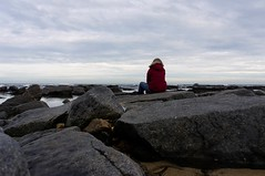 16-2-2013 (Copperhobnob) Tags: sea portrait sky coast sand rocks waves stcombs stcombsbeach