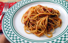 Lidia's Spaghetti All' Amatriciana (haunted snowfort) Tags: food cooking dinner recipe pepper bacon salt pasta garlic onion spaghetti oliveoil parsley plumtomatoes allamatriciana lidiabastianich hotredchiliflakes