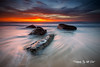 Merewether (Kiall Frost) Tags: ocean blue red orange seascape beach water sunrise newcastle landscape flow photography intense rocks surf photos australia images nsw prints merewether crazysunrise kiallfrost
