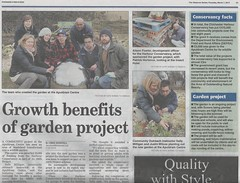 Apuldram Centre in Chichester Observer 7th March 2013 (Mark and Rebecca Ford Art Sculpture) Tags: project garden willow hazel ponds adults weaving fishbourne chichester specialneeds aonb communityproject educationcentre livingwillow coppicing wildlifegarden chichesterobserver wovenfence additionalneeds randing apuldramcentre harbourconservancy continuousrandedfence