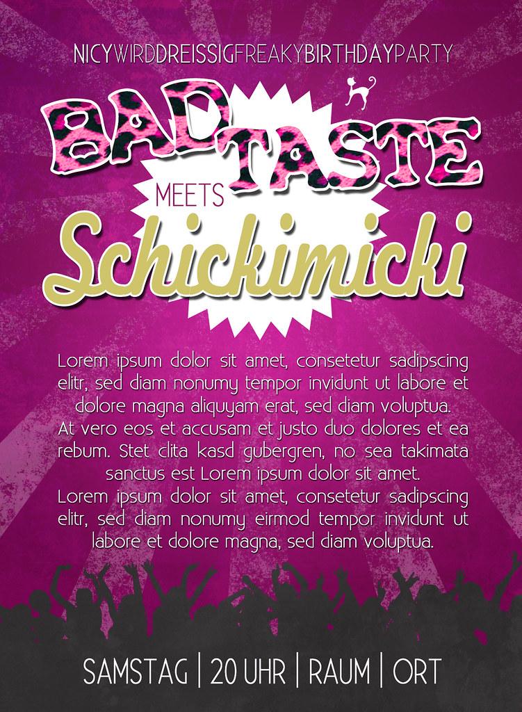Bad Taste Meets Schickimicki (catnipsflavour) Tags: Party Bad Geburtstag  Taste Postkarte Einladung Schickimicki