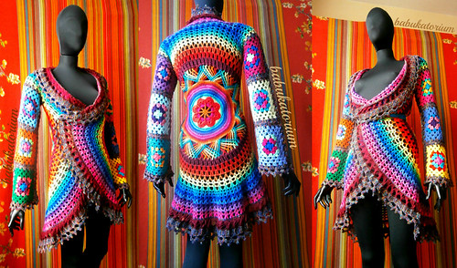 Crochet Coat - Aztec Sun Mandala And Granny Squares In Retro Rainbow Colors And Variegated Brown Edgings