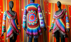 Crochet Coat - Aztec Sun Mandala And Granny Squares In Retro Rainbow Colors And Variegated Brown Edgings (babukatorium) Tags: pink blue red orange brown flower color green art wool fashion yellow vintage circle square star sweater rainbow colorful warm purple recycled handmade lace turquoise teal burgundy oneofakind coat crochet moda violet style mandala retro used hippie psychedelic applique cardigan bohemian doily multicolor octagon whimsical darkblue mintgreen ruffle haken hkeln emeraldgreen croch grannysquares ganchillo babypink royalblue uncinetto fattoamano  tii horgolt uvgreen babukatorium